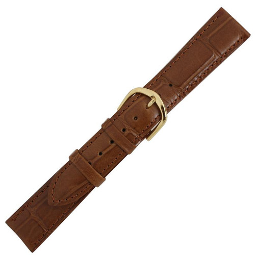 18mm mens brown leather alligator grain watch band