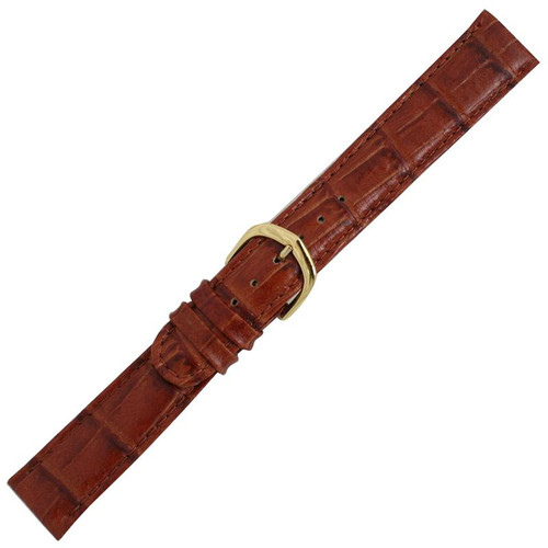 Men's 18MM brown leather bamboo grain watch band