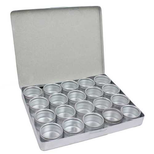 Aluminum storage box with 20 32mm tins with clear tops