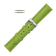Green Leather Watch Band 18MM Padded Alligator Grain Stitched