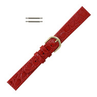 Red Leather Watch Strap 16MM Stitched Flat Croco Grain