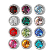 Studex ear piercing studs with inset birthstones