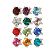 Assorted set of Tiffany birthstones with stainless steel studex studs