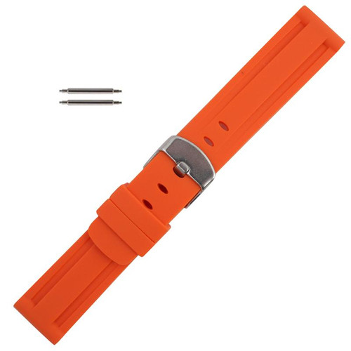 Silicone Watch Band 22mm Orange Sport Watch Band Rubber Jelly