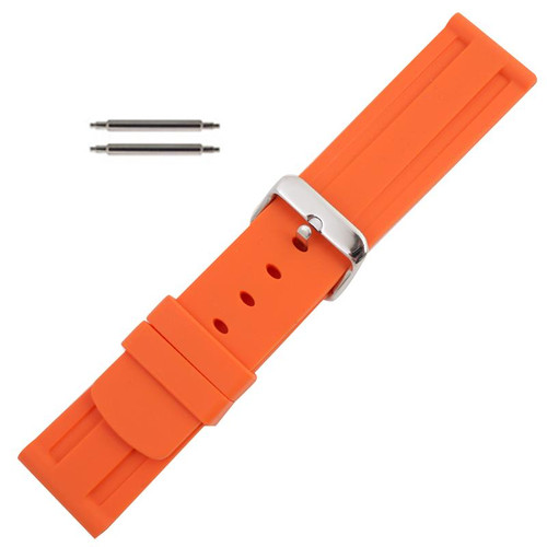Silicone Watch Band 24mm Orange Sport Watch Band Rubber Jelly