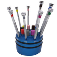AF Switzerland 9 Piece Screwdriver Set on Rotating Stand Mini Watchmakers Sizes 0.60 - 3.00mm