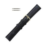 Hadley Roma Genuine Java Lizard Watch Band 16mm Black Long