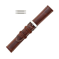 Hadley Roma Chestnut Leather With Contrast Stitching 20mm Watch Band Long