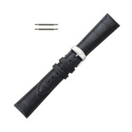 Hadley Roma Leather Watch Band Alligator Grain 22mm Black Long