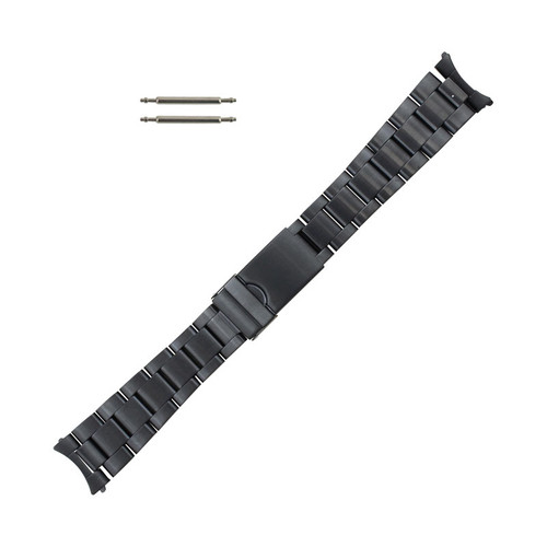 Hadley Roma Curved End Metal Watch Band Black Matte 20 mm