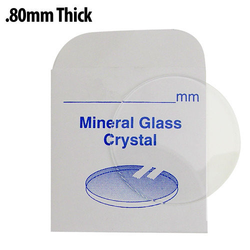 Mineral glass crystals of .80 mm thickness for all watches.