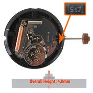 Harley Ronda HQ517 quartz watch movement with day/date display