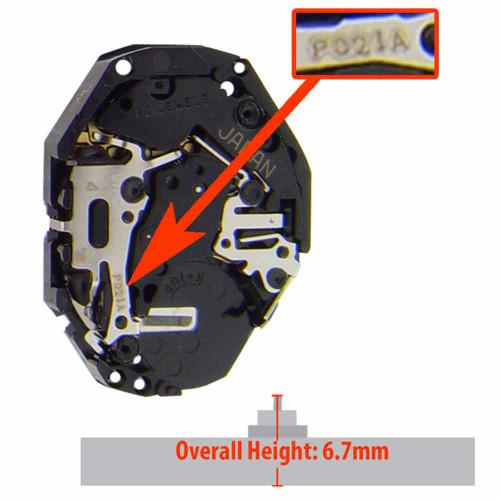 Hattori Japan 3 Hand Quartz Watch Movement PC21.3 XHCP Extra High Hand Post Overall Height 6.7mm