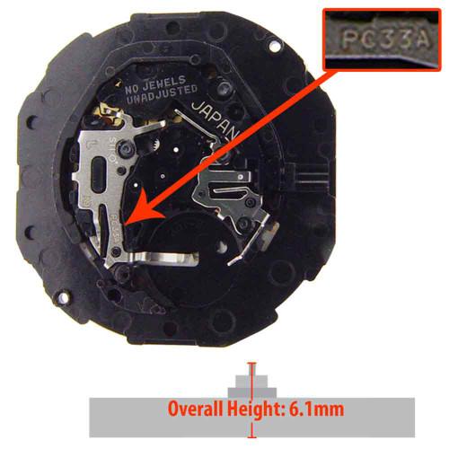 Hattori Japan Watch Movement PC33 Quartz Movements Overall Height 6.1mm