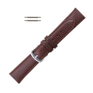 Hadley Roma 18mm Leather Watch Band Lizard Grain Brown Ladies Long