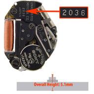 Miyota/Citizen LTD Watch Movement 2036 HCP Quartz Movements Overall Height 5.1mm