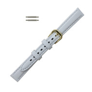 Watch Band 12MM Classic Calf  White Leather