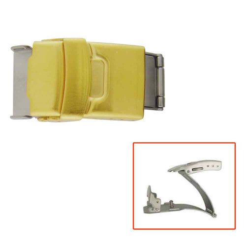 Watch Band Clasp Gold Plated Tri-Fold with Push Button Clasps