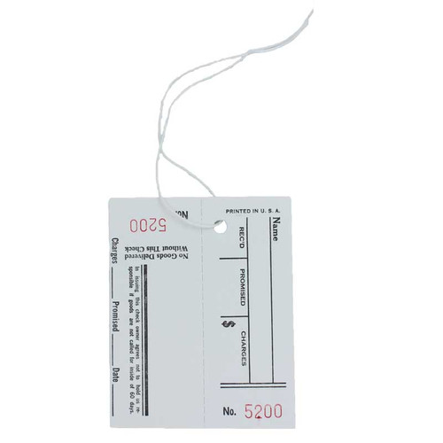 Repair Job Tags with Claim Check Receipt