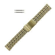 20 mm Yellow Gold Tone Metal Watch Band With Tri Fold Clasp
