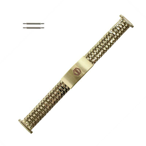 Medical ID Watch Band Yellow Gold Tone Metal