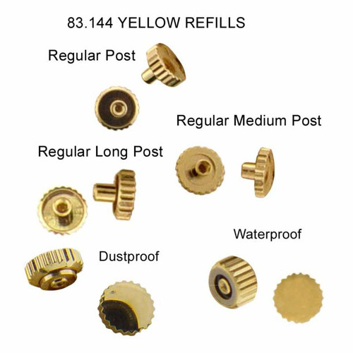 Gold plated Quartz watch crowns for watch repairs