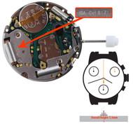 ISA Quartz Chronograph Watch Movement ISA8171/2340 Overall Height 5.5mm