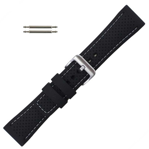 Black 24 mm Silicone Watch Band Sport Strap