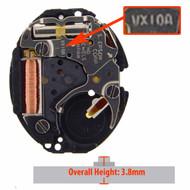 Hattori Japan 2 Hand Quartz Watch Movement VX10.2 Overall Height 3.8mm