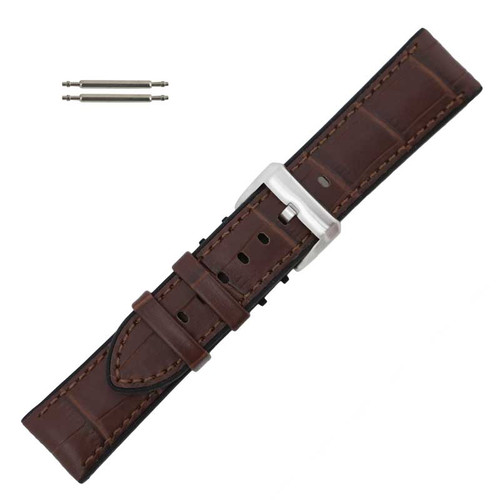 Brown Leather 24MM Alligator Grain Stitched with Silicone Lining