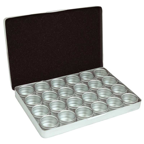 Aluminum Storage Box with 24 pieces 32mm Individual Tins with Clear tops