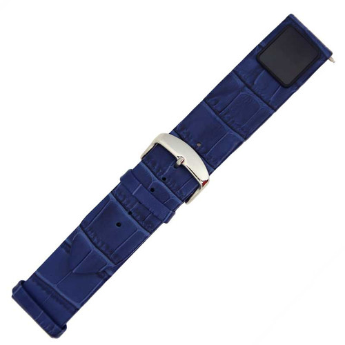 Smart H1 Navy Blue Alligator Grain Leather 22mm Watch Strap Bluetooth Fitness Tracker Band