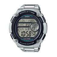 Classic Casio® AE3000WD-1AV Stainless Steel World Time Digital Watch