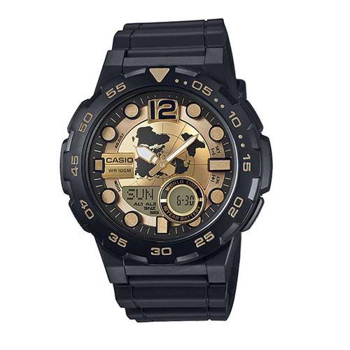 Casio® AEQ100BW-9AV Black/Gold Analog Digital Watch