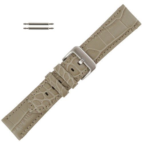 Padded Alligator Grain Stitched 22MM Beige Leather Watch Band