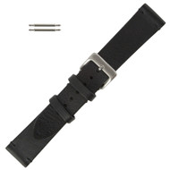 Black Leather Watch Band Vintage Stitched 22MM