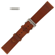 Tan Leather Watch Band Vintage Stitched 22MM