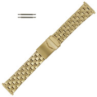 Metal Watch Band Gold Tone Sport Style Adjustable Ends Fit 18-22mm