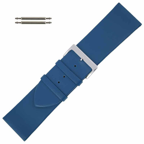 Blue Watch Band Long 30MM Leather Smooth Calf