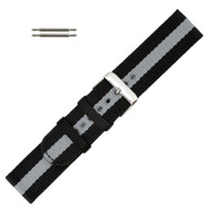 Hadley Roma Grey and Black Striped 22MM Nylon Watch Band