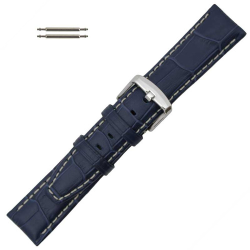 Navy Blue Alligator Grain 24MM Leather Watch Band with Contrast Stitching