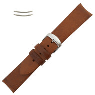 Curved Brown Leather Watch Band 22MM