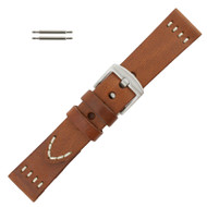 Brown Leather 22MM Watch Band Vintage Stitched