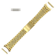 Jubilee® Style Metal Watch Band 22MM Yellow Gold Tone Curved and Straight Ends