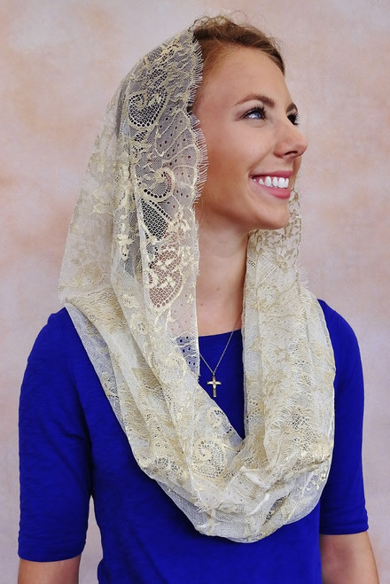 Ivory and Gold Vintage Lace Infinity Veil