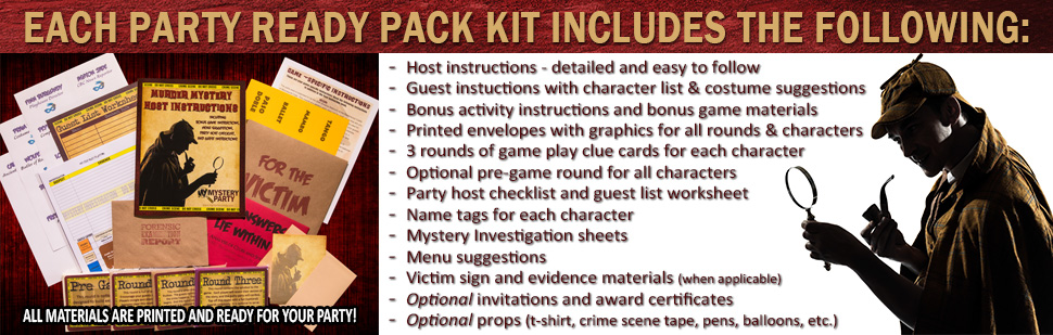 What a party ready pack includes for our murder mystery parties.