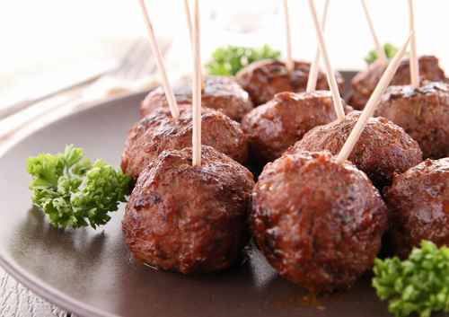 Grilled meatball appetizers for a murder mystery party
