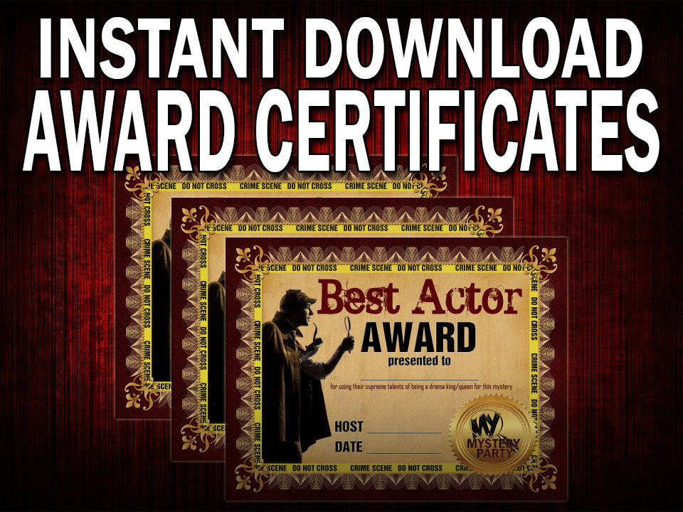 downloadable award certificates 3 pack for a murder mystery party