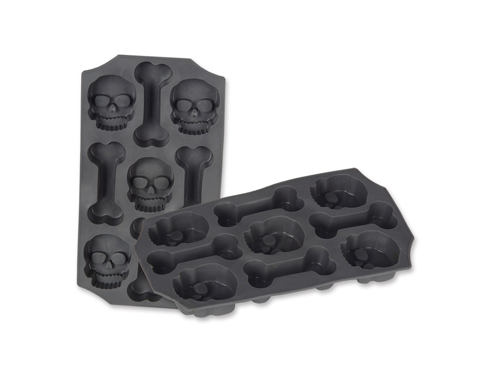 Skull and bones ice tray for murder mystery parties