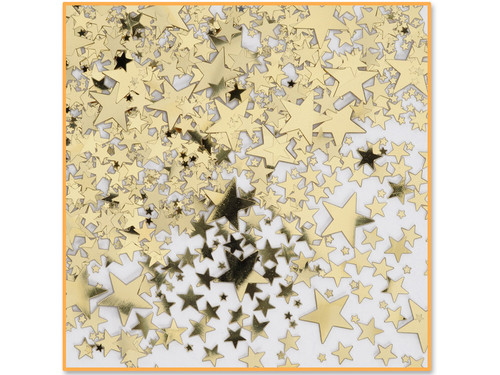 Gold star mystery party confetti.